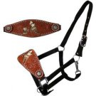 BLACK BRONC HALTER HAIR ON HIDE BARREL RACER IMAGE CONCHOS SHOWMAN