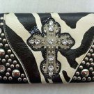 Cowgirl Western Wallet Case Zebra Striped Blinged Out with Cross Rhinestones