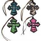 Tie On Zebra Striped Crosses Rhinestone Accents - Blue, Pink, Black, White