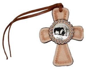 Tie On Leather Cross with Praying Cowboy Concho - All Leather - Silver Beading