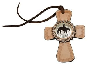 Tie On Leather Cross with Pleasure Horse Concho - All Leather - Silver Beading