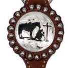 Western Style Key Chain Praying Cowboy Concho - All Leather - Silver Beading