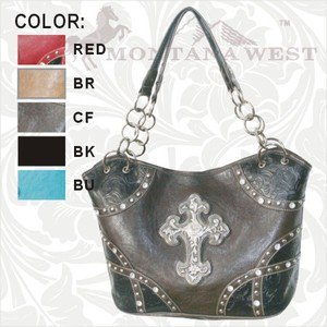 Montana West Satchel Handbag Purse Rhinestones Cross Brown, Teal, Cream, Red