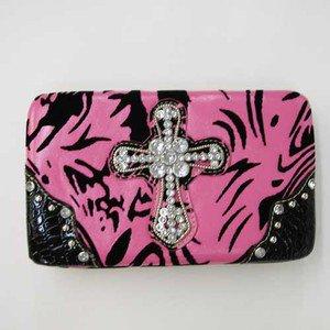 Hard Case Wallet, PInk Zebra Striped, Rhinestone Cross Emblem, Black Corners
