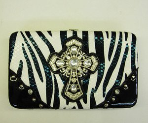 Hard Case Wallet, Zebra Striped, Black, with Rhinestone Studded Cross Emblem