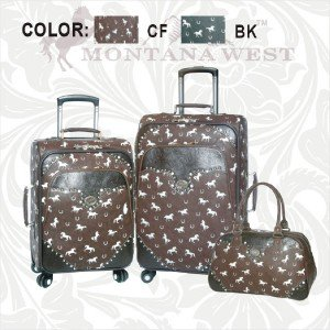3 Piece Cowgirl Western Luggage Set by Montana West - Includes Carry On - Brown