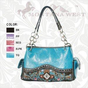 Montana West Shoulder Handbag Purse with Cross, Rhinestones and Embroidery