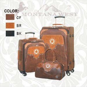 3 Piece Western Luggage Set incl Carry On - Montana West Texas Pride Collection