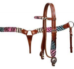 Showman Mulit Colored Hair On Hide Zebra Print Browband Headstall Breastcollar