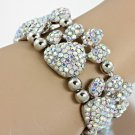 Blinged Out Rhinestone Encrusted Dog Paw Clear Bracelet