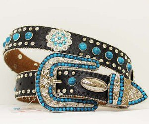 Blinged Out Western Cowgirl Black Belt with Turquoise Conchos and Beading