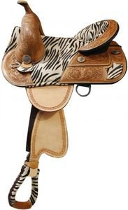 Double T Treeless Saddle with Hair on Zebra Print Seat