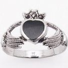 Claddagh Marcasite & Onyx Ring
