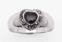 Onyx Heart & Marcasite Ring