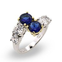 Double Sapphire & CZ Ring