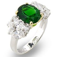 Emerald & Cluster CZ Ring