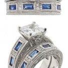 Blue CZ Baguette Wedding Set