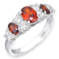Garnet w/ Clear CZ Accents Ring