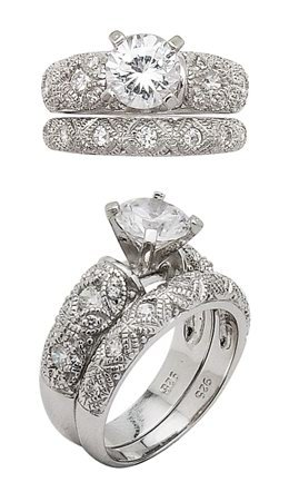 6mm Round CZ Wedding Set