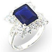 Rosette Montana Blue CZ Ring