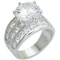 Wide 10mm CZ Bridal Ring