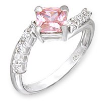 Twisted Pink Square CZ Ring