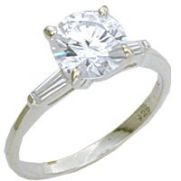Large 8mm Diamond CZ Solitaire Ring