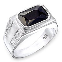 Mens Rectangular Onyx CZ Ring