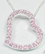 Pink CZ Heart Necklace