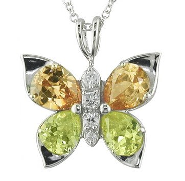Colorful CZ Butterfly Necklace
