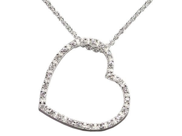 Clear CZ Open Heart Necklace