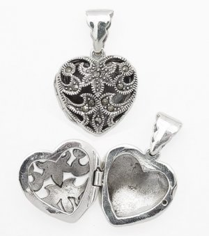 Marcasite Cut Out Heart Locket