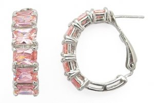 Pink CZ Baguettes Earrings