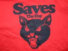 Saves the Day T-Shirt Red Black Cat Logo Red Size XL