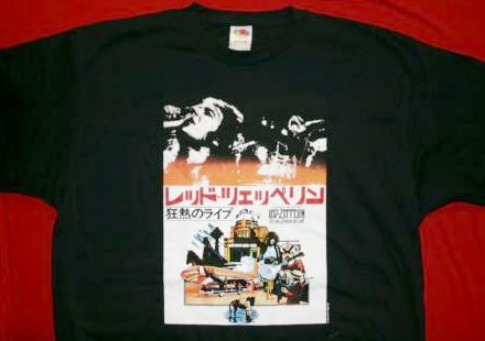 Led Zeppelin T-Shirt Handbill Japan Black Size Large