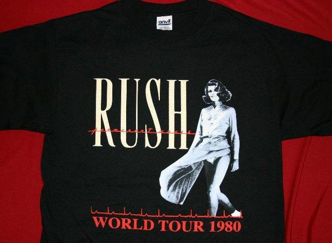 Rush T-Shirt Permanent Waves World Tour 1980 Black Size Medium