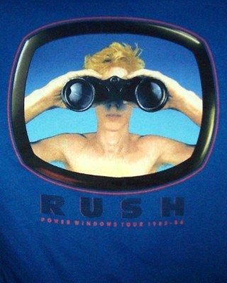 Rush T-Shirt Power Windows Tour Blue Size Small