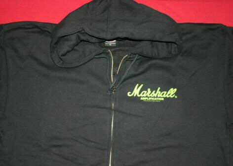 Marshall Amps Zipper Hoodie Sweatshirt Green Logo Black Size Medium