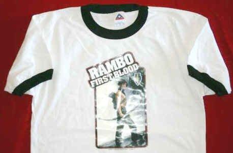 Rambo Ringer T-Shirt Transfer White Size Medium