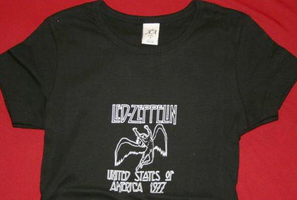 Led Zeppelin Babydoll T-Shirt US 1977 Tour Black Size XL