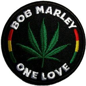 Bob Marley Iron-On Patch One Love Leaf Logo