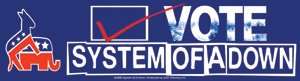 System of a Down Vinyl Sticker Vote Logo