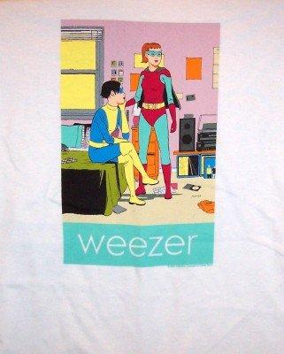 Weezer T-Shirt Super Girls Logo White Size XL