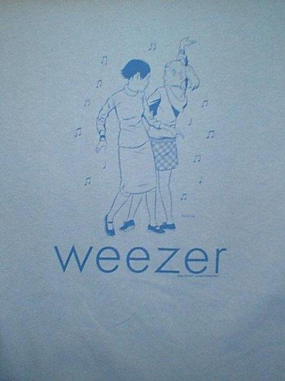 Weezer T-Shirt Dancing Girls Logo Blue Size Large