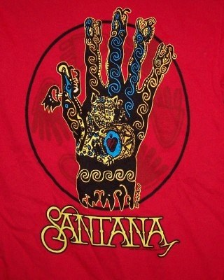 Carlos Santana T-Shirt Hand Logo Red Size Small