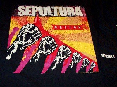 Sepultura Long Sleeve T-Shirt Fists Nation Tour Black Size XL