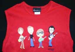 Weezer Sleeveless Babydoll Shirt Animated Logo Red Size Medium
