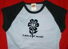 Puddle of Mudd Babydoll Cap Sleeve Shirt Flower Blue One Size