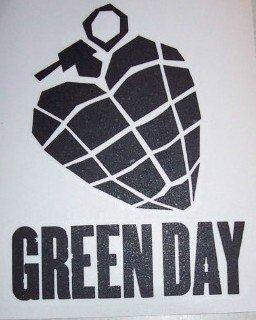 Green Day Vinyl Cut Sticker Black Heart Grenade
