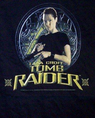 Tomb Raider T-Shirt Lara Croft Loading Gun Black Size Medium